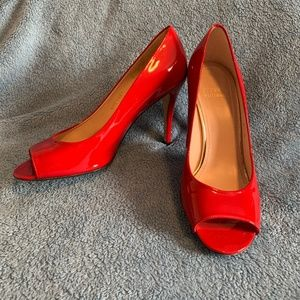 Stuart Weitzman Red Patent Leather Peep Toe Pumps